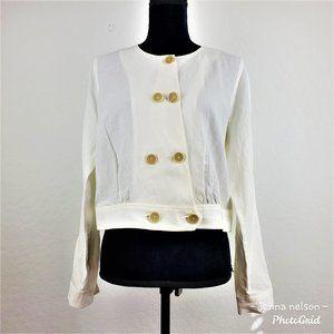 Cabi Piazza Jacket Style #5096 Ivory Size M Linen